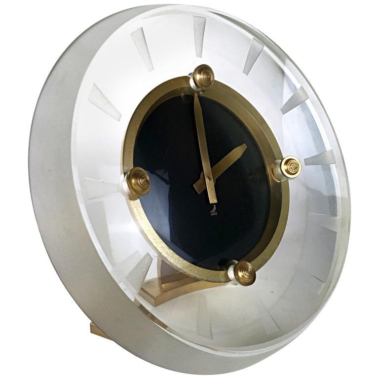 Art Deco Glass & Brass Clock by JAZ Modele Depose, 8 Day Reserve, 1930s,  France