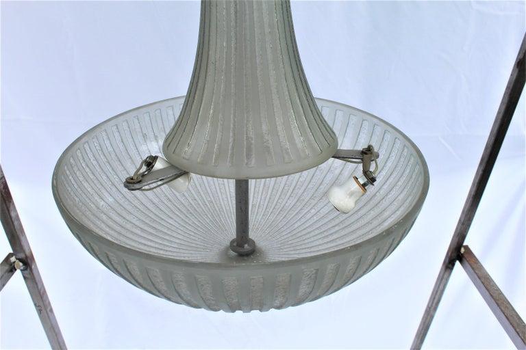 European Art Deco Glass Chandelier, Acid Cut, 3 Lights after Daum For Sale