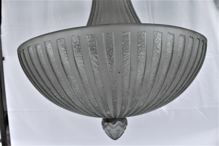 Art Deco Glass Chandelier, Acid Cut, 3 Lights after Daum In Good Condition For Sale In Los Angeles, CA