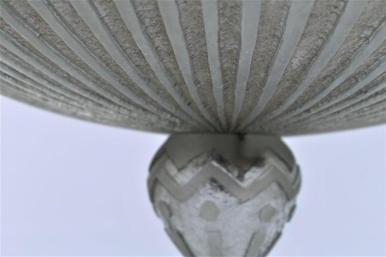 Late 20th Century Art Deco Glass Chandelier, Acid Cut, 3 Lights after Daum For Sale