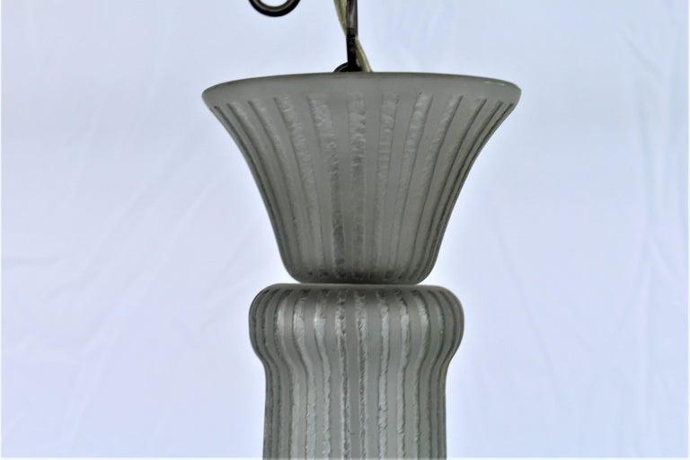 Art Deco Glass Chandelier, Acid Cut, 3 Lights after Daum For Sale 1