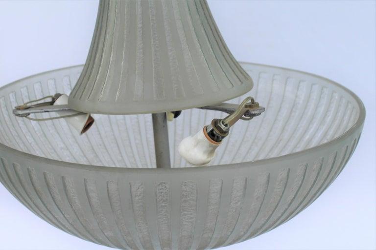 Art Deco Glass Chandelier, Acid Cut, 3 Lights after Daum For Sale 2