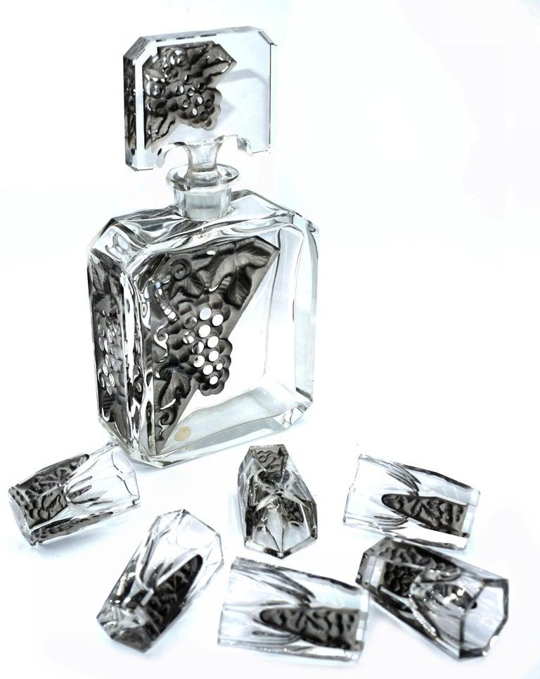 Art Deco Glass Decanter Set by Schlevogt & Hoffman, circa 1930 In Good Condition For Sale In Devon, England