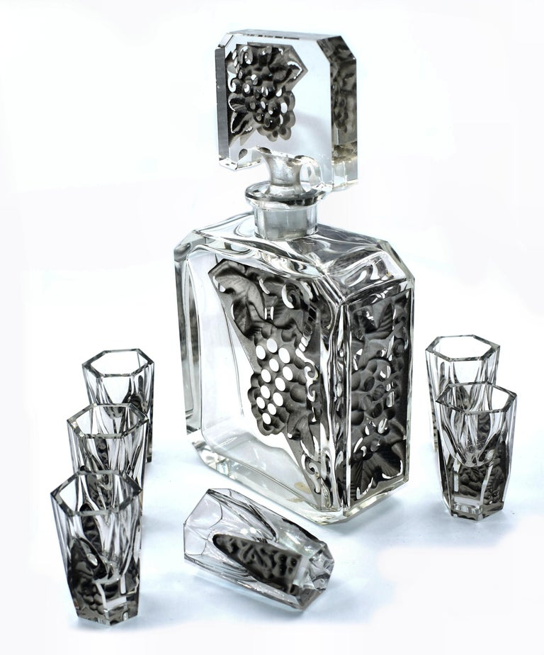 20th Century Art Deco Glass Decanter Set by Schlevogt & Hoffman, circa 1930 For Sale