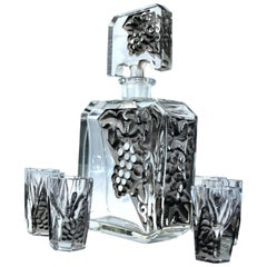 Art Deco Glass Decanter Set by Schlevogt & Hoffman, circa 1930