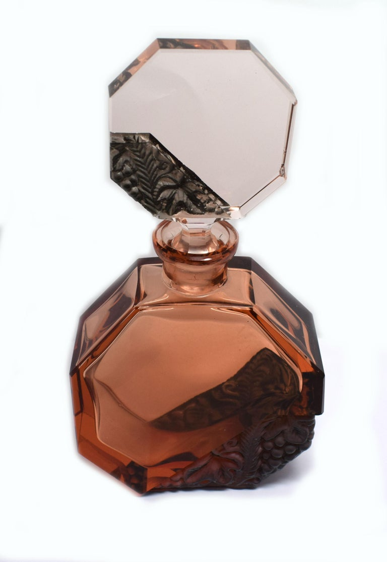 Czech Art Deco Glass Decanter Set by Schlevogt & Hoffman For Sale