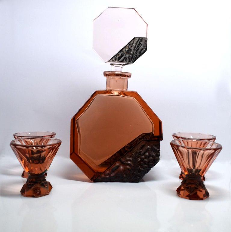 Art Deco Glass Decanter Set by Schlevogt & Hoffman For Sale 1