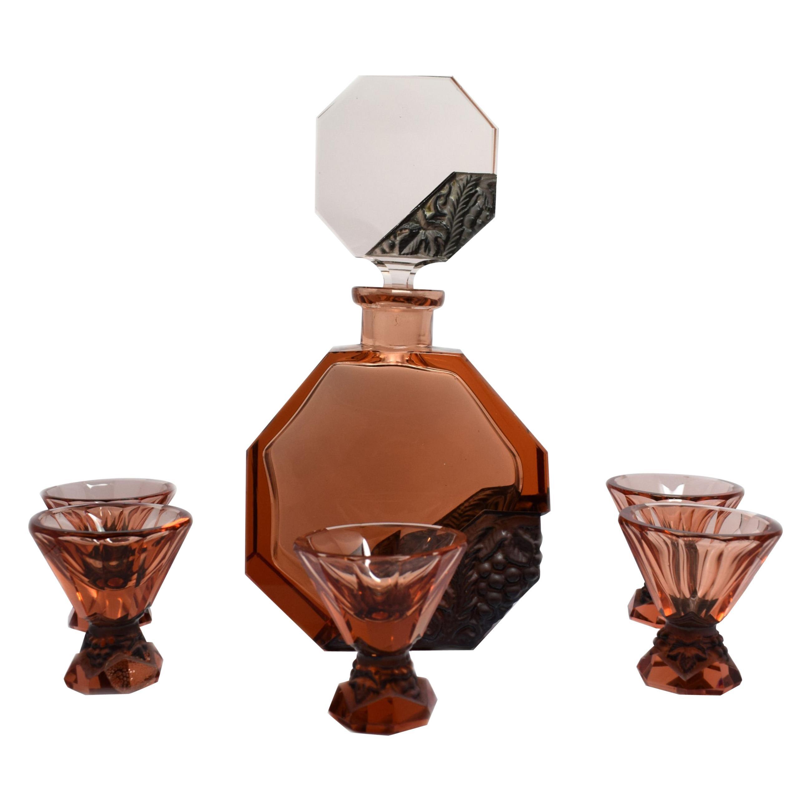 Art Deco Glass Decanter Set by Schlevogt & Hoffman