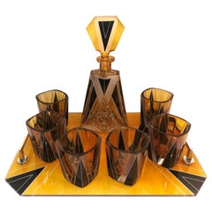 Art Deco Glass Decanter Set by Schlevogt & Hoffman