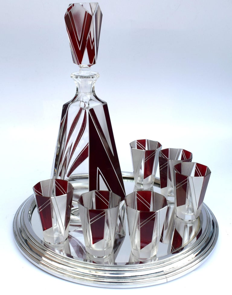 Art Deco Glass and Enamel Decanter Set, circa 1930 In Excellent Condition For Sale In Devon, England