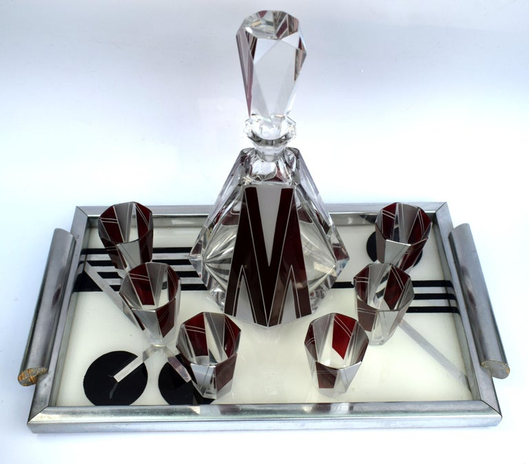 20th Century Art Deco Glass and Enamel Decanter Set, circa 1930 For Sale