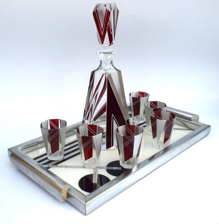 Art Deco Glass and Enamel Decanter Set, circa 1930 For Sale 1