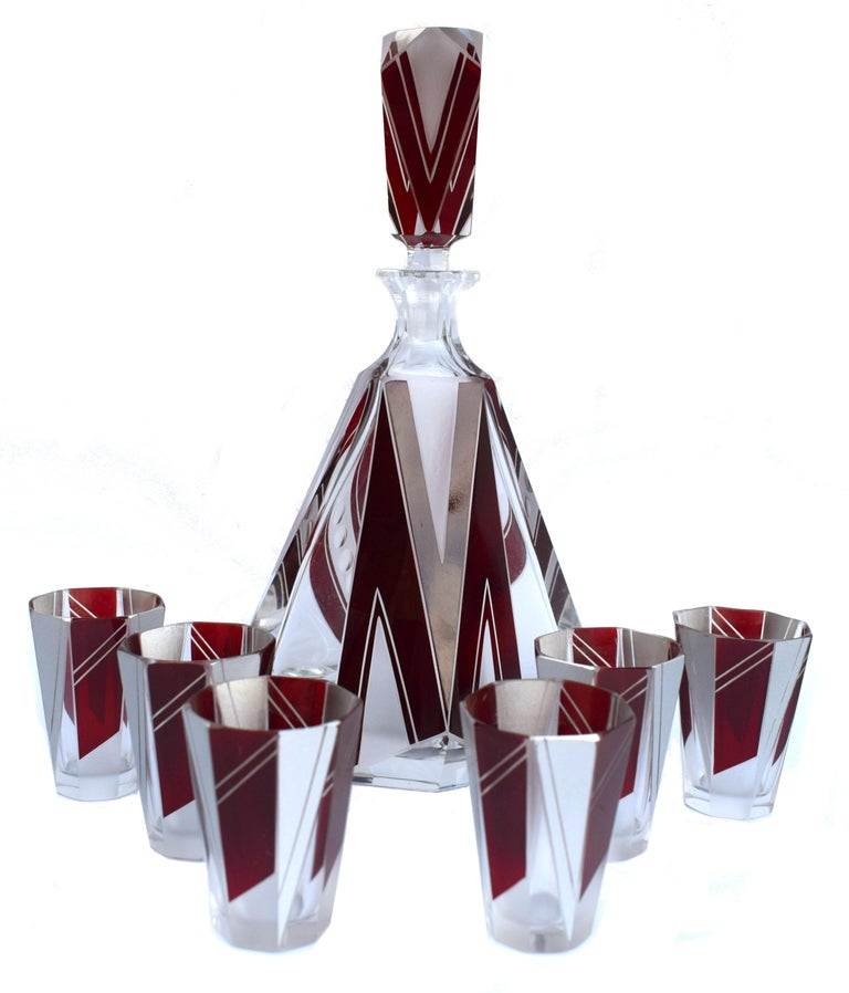 Art Deco Glass and Enamel Decanter Set, circa 1930 For Sale 2