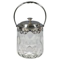 Art Deco Glass Ice Bucket with Silver Mount, Kattner & Co Vienna, around 1925