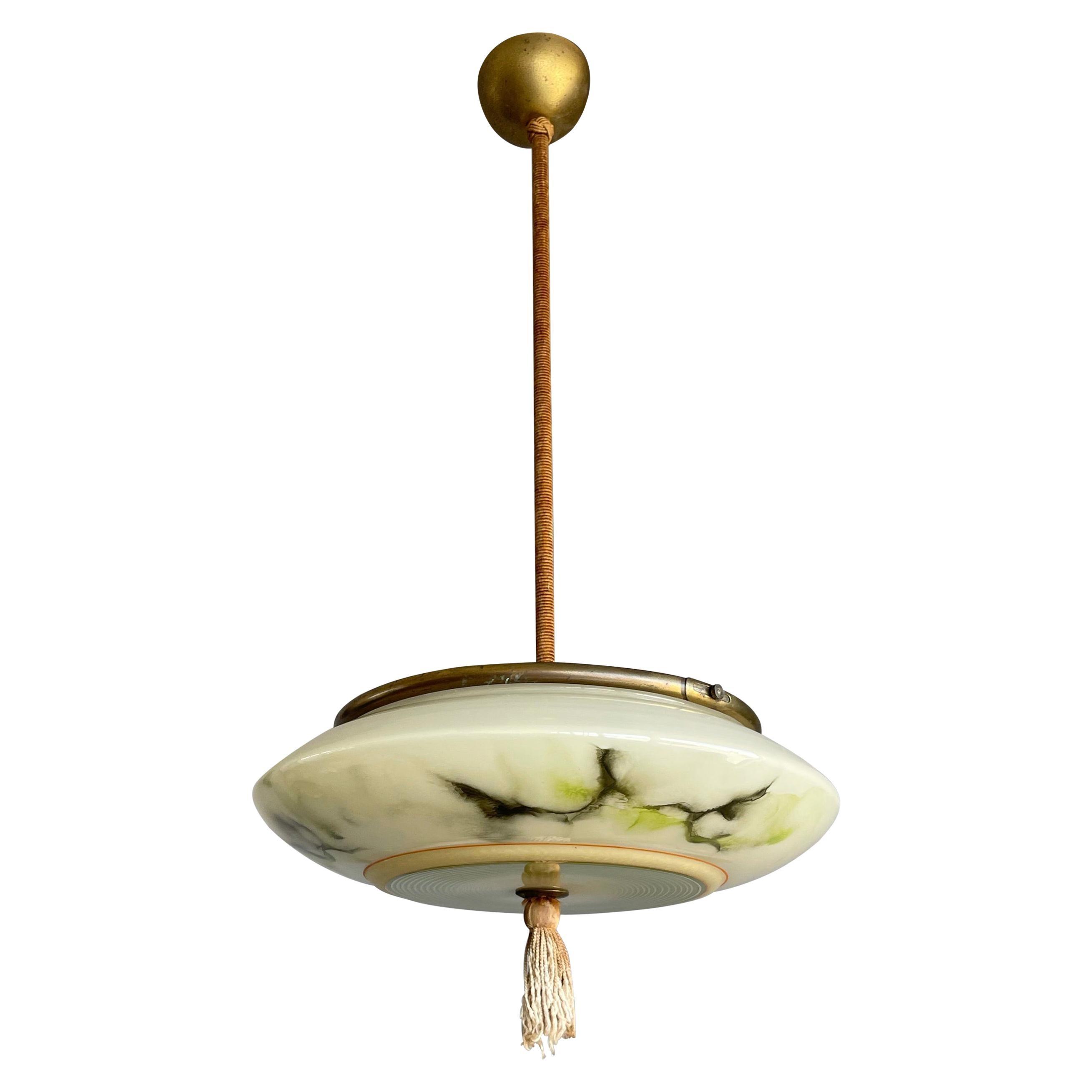 Art Deco Glass Pendant Light / Flush Mount w. Tassle & Transparent Glass Top