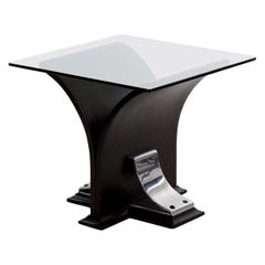 Art Deco Glass Top, Ebonized Black Walnut & Aluminum Accent Table