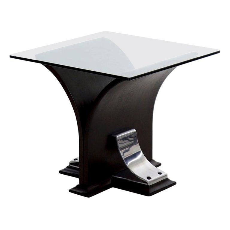 Art Deco Glass Top, Ebonized Black Walnut & Aluminum Accent Table