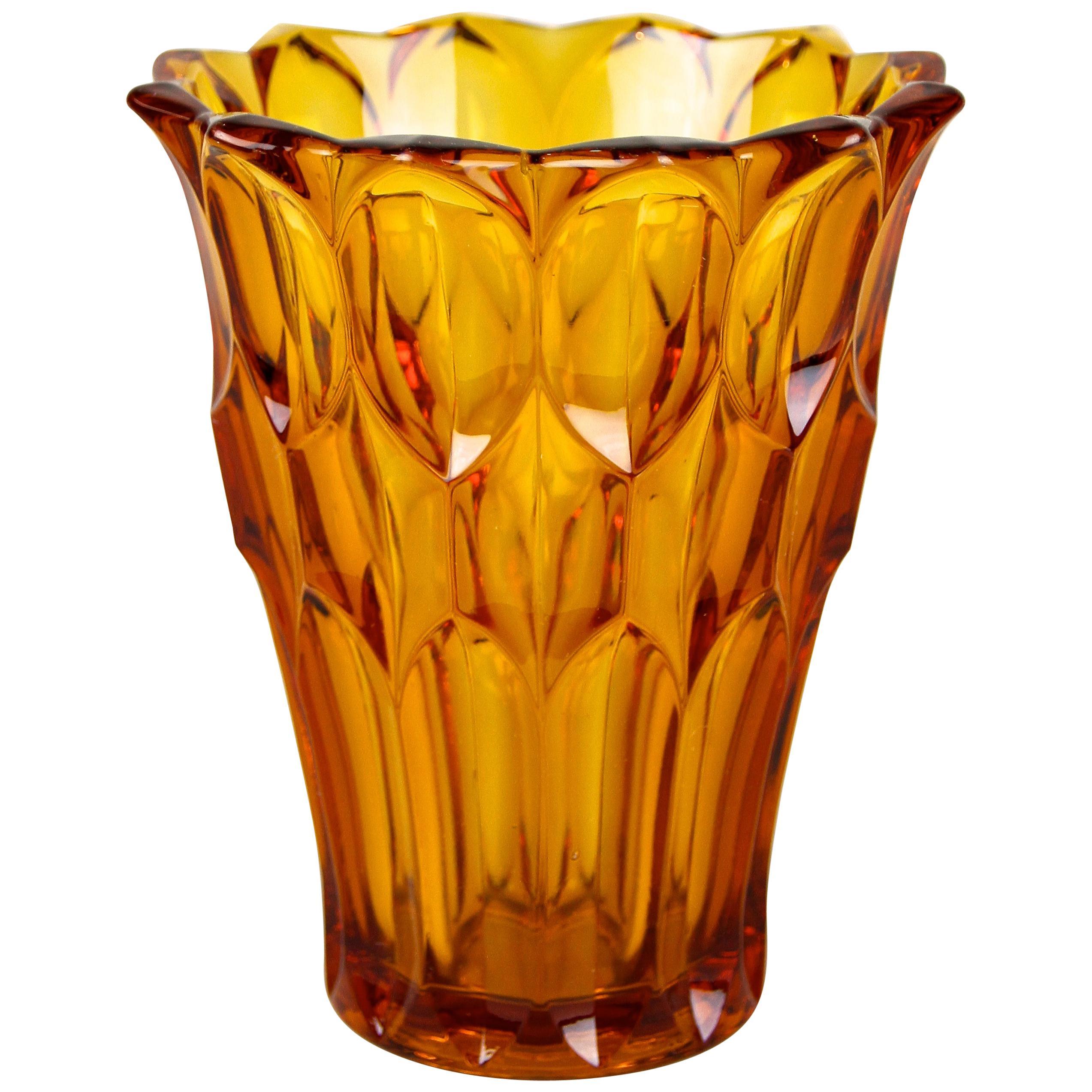 Art Deco Glass Vase Amber Colored, Austria, circa 1920