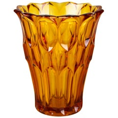Art Deco Glass Vase Amber Colored, Austria, circa 1920