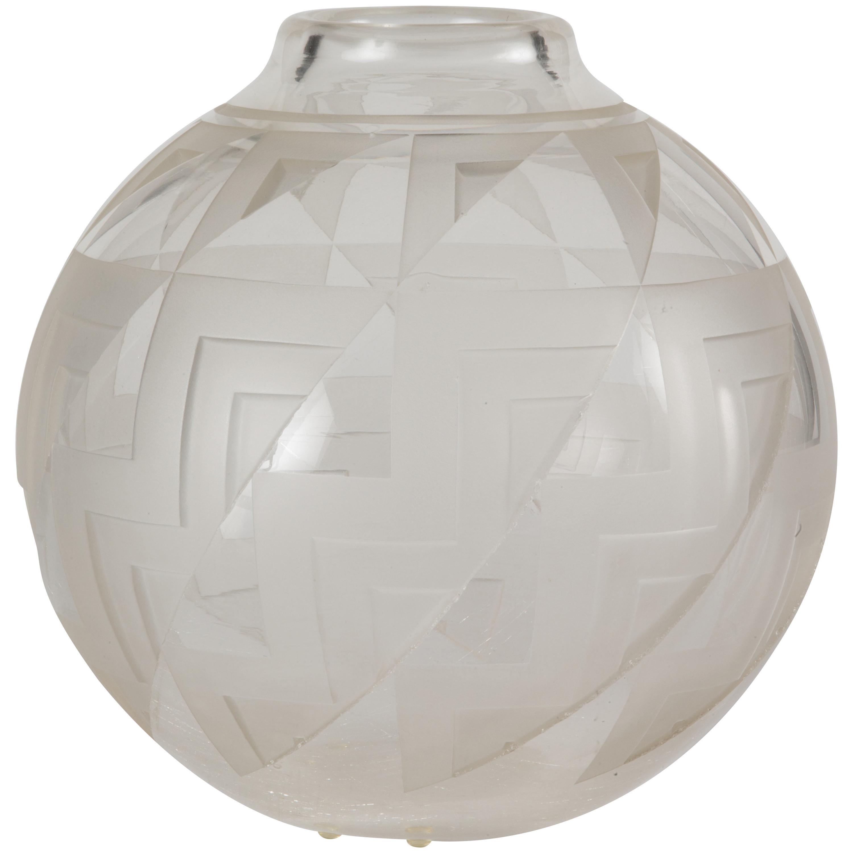 Art Deco Glass Vase by Andre Delatte