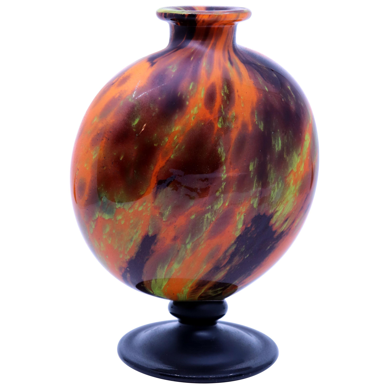 Art Deco Glass Vase by Charles Schneider