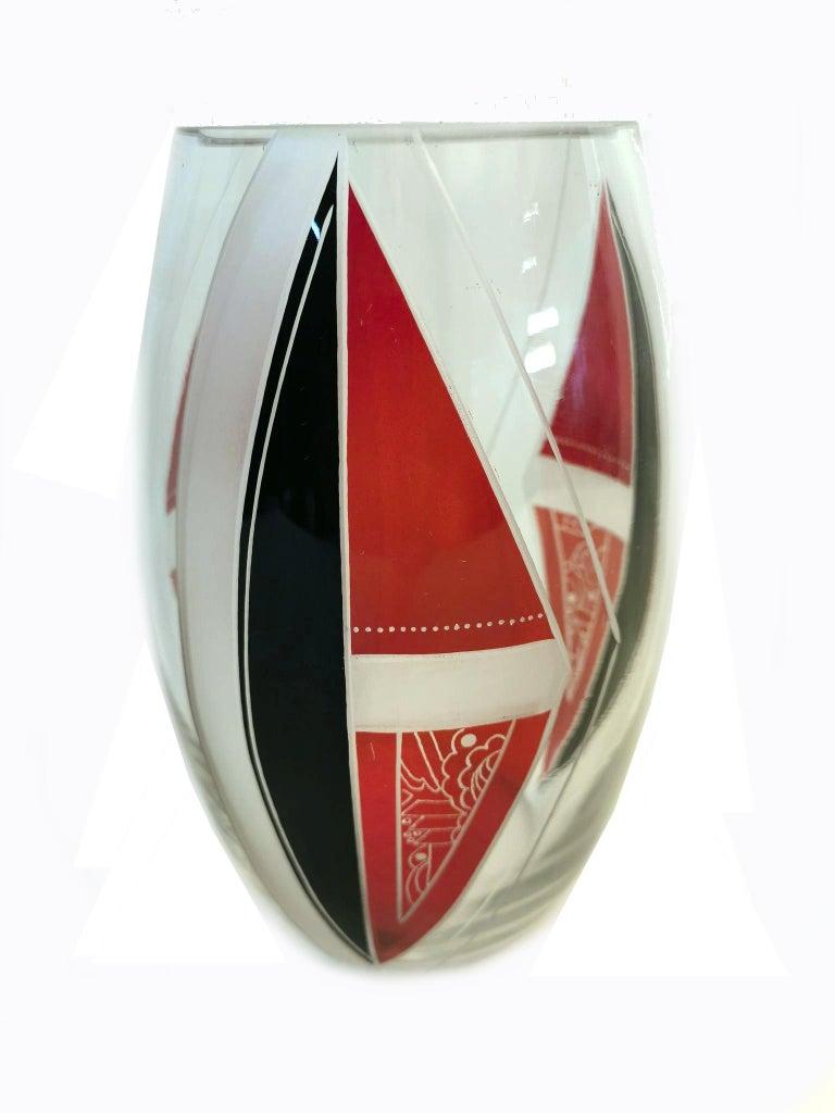 Czech Art Deco Glass Vase by Karl Palda For Sale