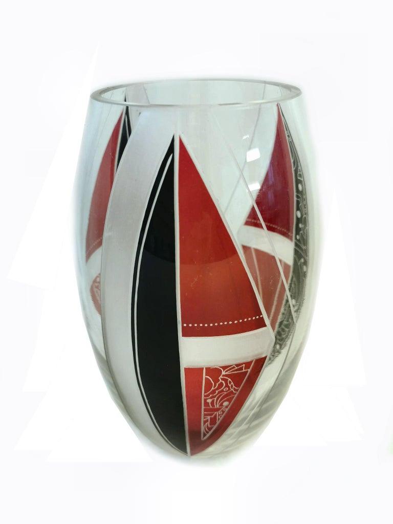 Art Deco Glass Vase by Karl Palda In Good Condition For Sale In Devon, England
