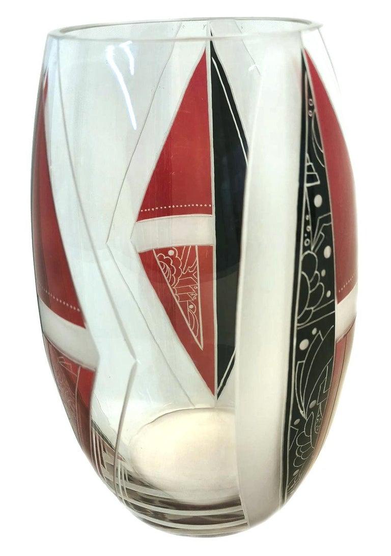 Art Deco Glass Vase by Karl Palda For Sale 1