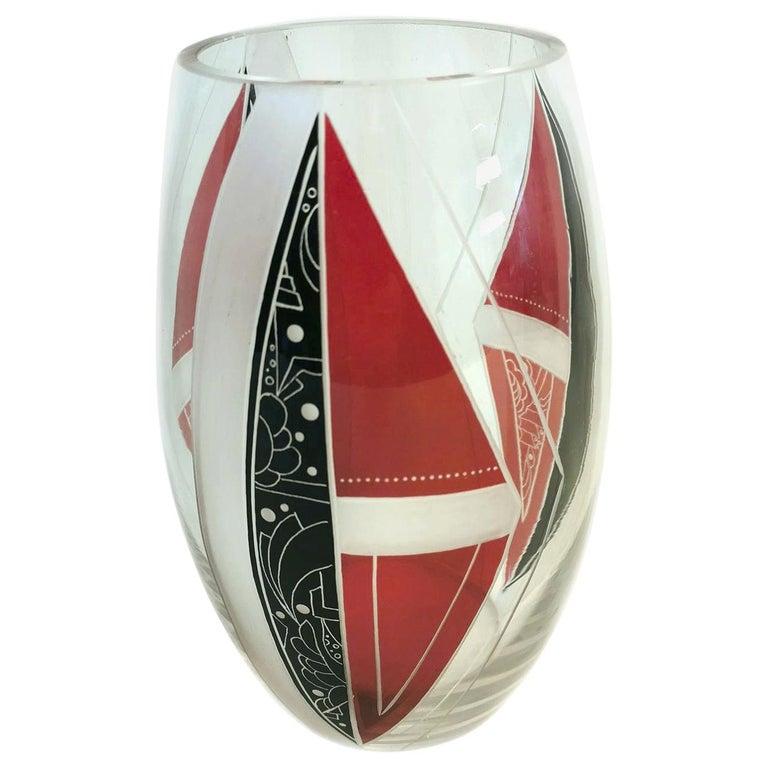 Art Deco Glass Vase by Karl Palda For Sale