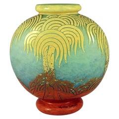 Art Deco Glass Vase Plamier Pattern