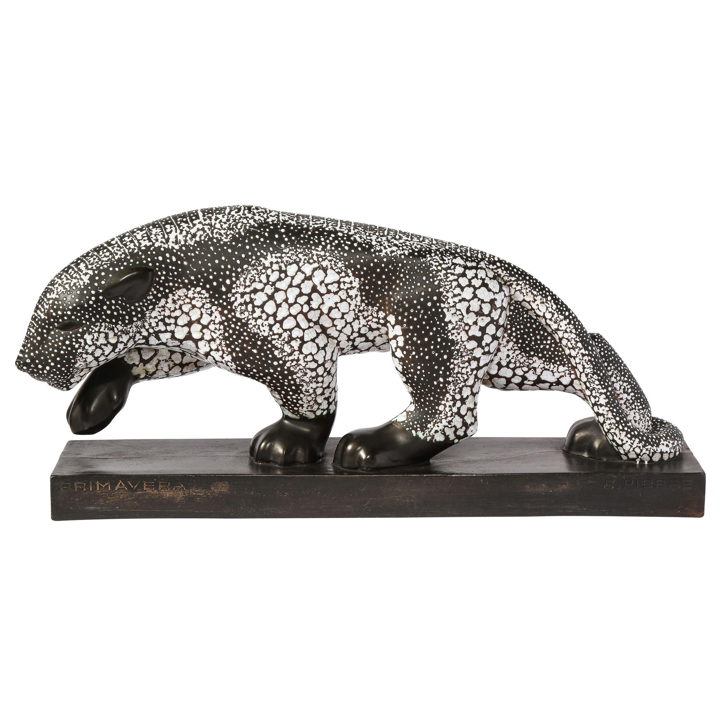 Art Deco Glazed Ceramic Panther Sculpture Signed E. Pierre for Atelier Primavera