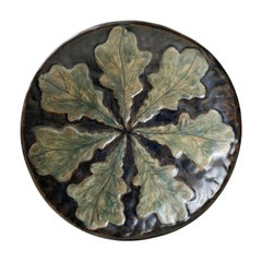 Art Deco Glazed Stoneware Dish with Leaves, Emil Ruge, 1930s