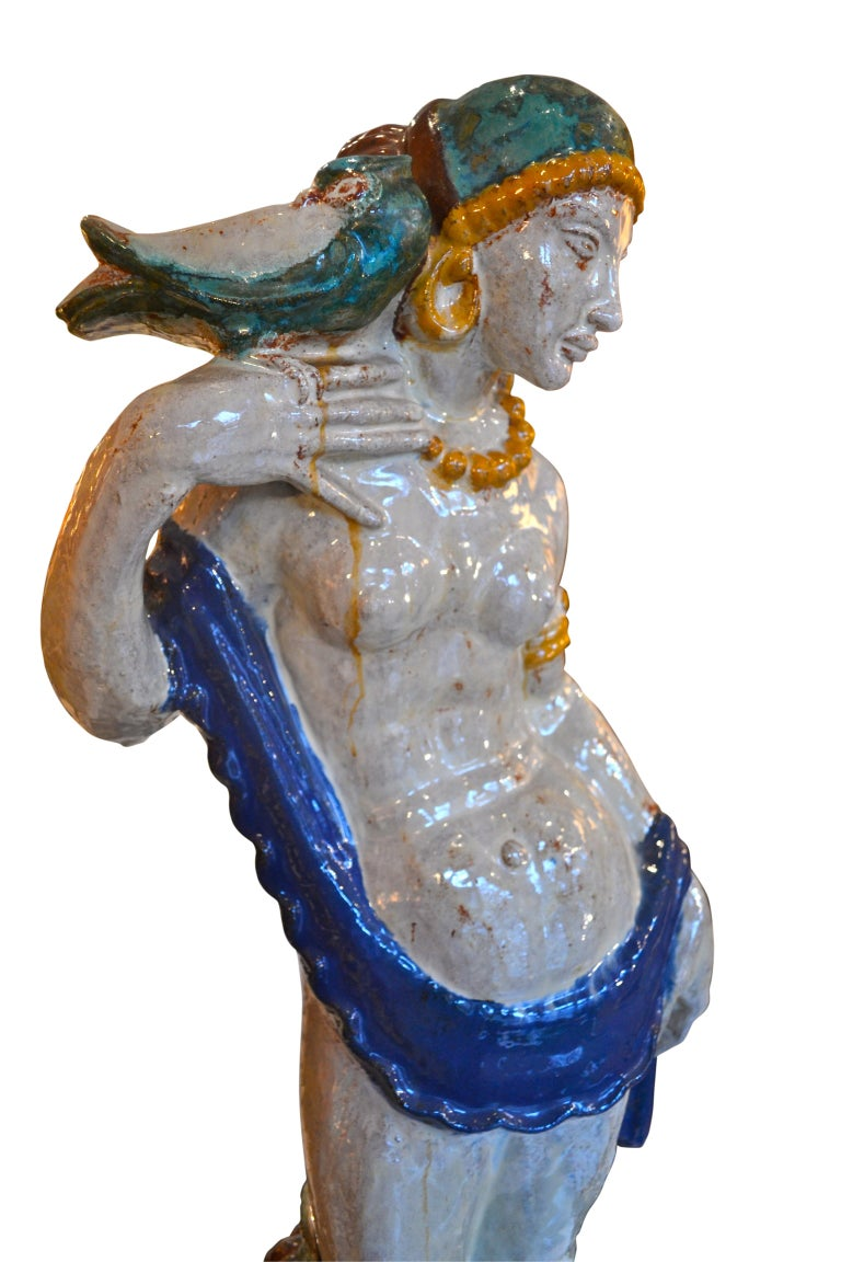 Art Deco Glazed Terracotta Statue In Good Condition For Sale In Vancouver, British Columbia