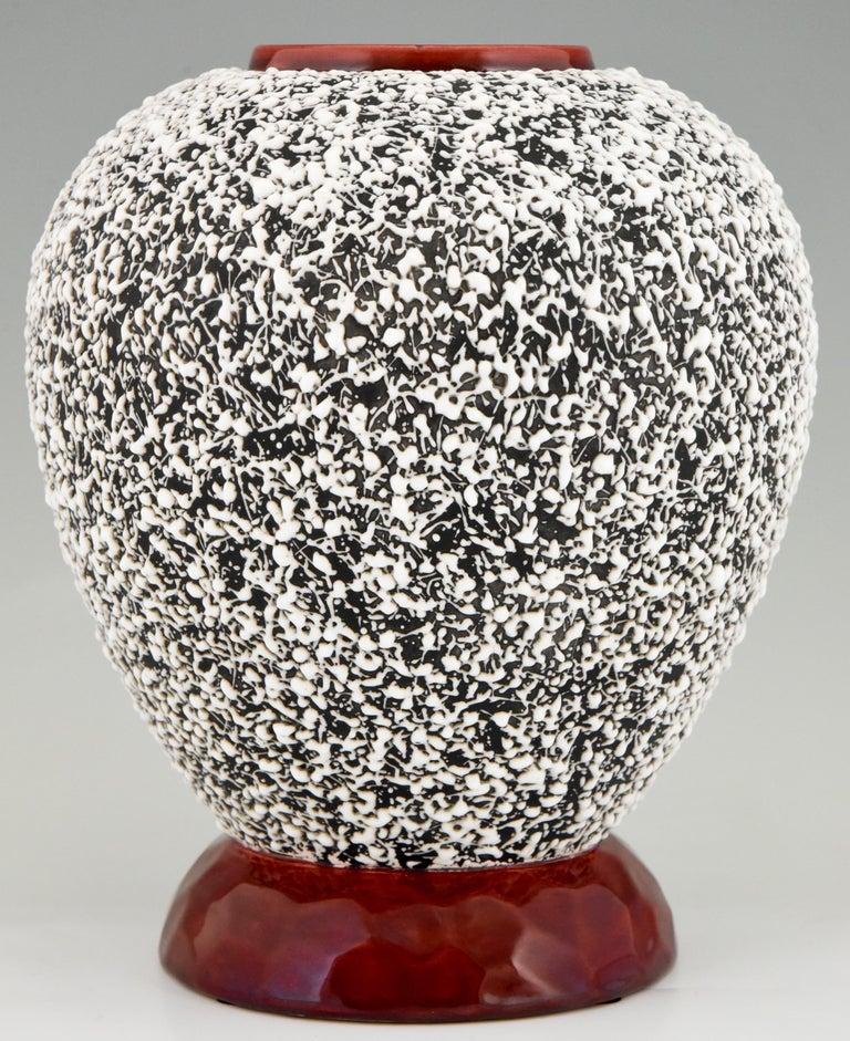 French Art Deco Globular Ceramic Vase with Textured Glaze Paul Milet for Sèvres, 1930 For Sale