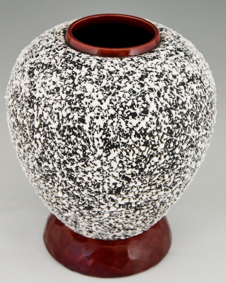 Glazed Art Deco Globular Ceramic Vase with Textured Glaze Paul Milet for Sèvres, 1930 For Sale
