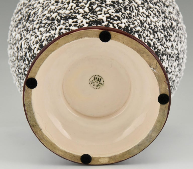 Art Deco Globular Ceramic Vase with Textured Glaze Paul Milet for Sèvres, 1930 For Sale 1