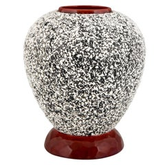 Art Deco Globular Ceramic Vase with Textured Glaze Paul Milet for Sèvres, 1930