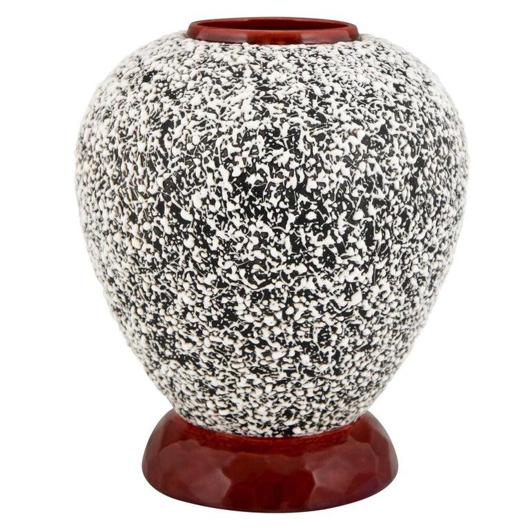 Art Deco Globular Ceramic Vase with Textured Glaze Paul Milet for Sèvres, 1930 For Sale