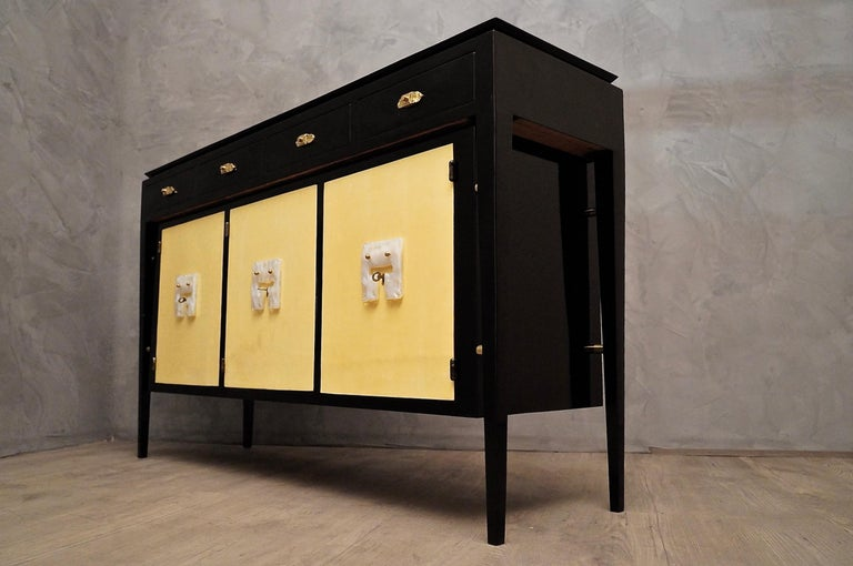 Art Deco Goatskin and Black Lacquered Wood Italian Sideboard, 1940 For Sale 8
