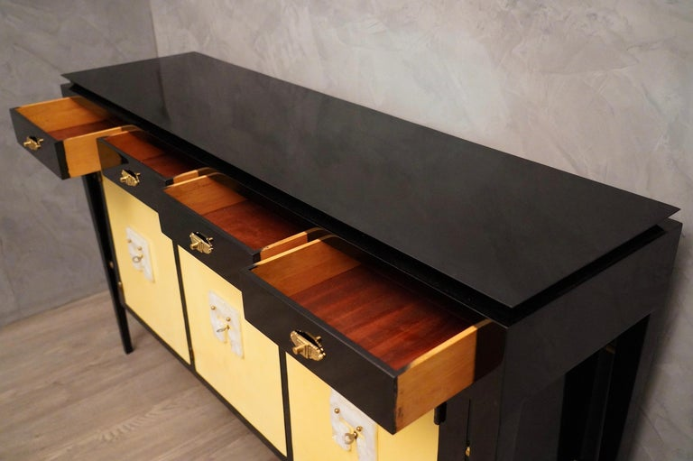 Parchment Paper Art Deco Goatskin and Black Lacquered Wood Italian Sideboard, 1940 For Sale