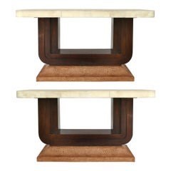Art Deco Goatskin and Ostrich Clad Console Tables, Pair