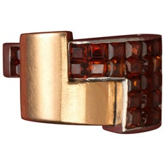 Art Deco Gold and Platinum and Invisibly Set Garnet Ring