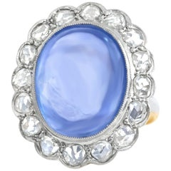 Art Deco Gold and Platinum Ring set with a 11.92ct No Heat Ceylon Sapphire AGL
