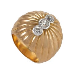 Gold and Diamond Oversized Boule Ring