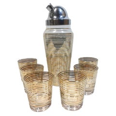 Art Deco Gold Band Cocktail Set, Cocktail Shaker and 6 Old Fashioned Glasses