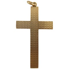 Art Deco Gold Cross, Hallmarked 9 Carat Rose Gold, Birmingham, 1924