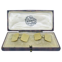 Art Deco Gold Cufflinks, 18 Carat Yellow Gold, Boxed