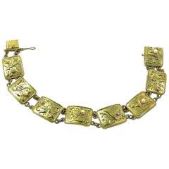 Art Deco Gold Diamond and Oriental Pearl Bracelet, circa 1930