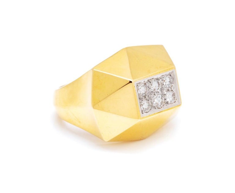 18 K Solid gold trapezoidal faceted art deco style ring with 6 round set diamonds. This ring features 0.45 carats of diamond and 13.75 grams of gold.  Size   Can be resized upon request.   Viewings available in our NYC showroom by appointment.