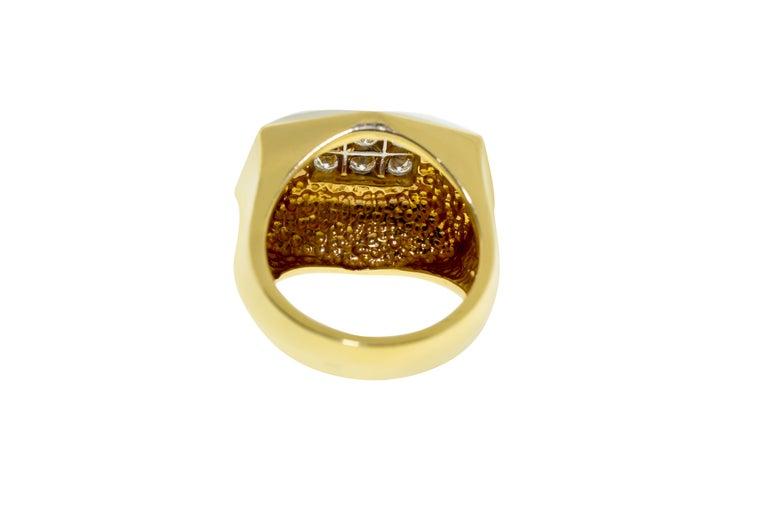 Women's or Men's Art Deco Style Gold Diamond Ring For Sale